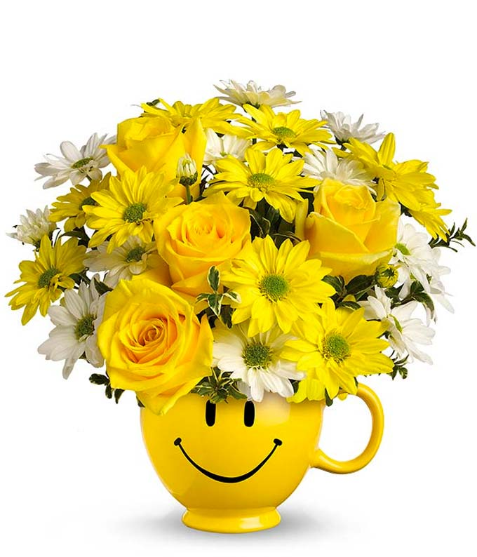 BE Happy� Bouquet - Yellow and White Daisies, Roses: FromYouFlowers.com