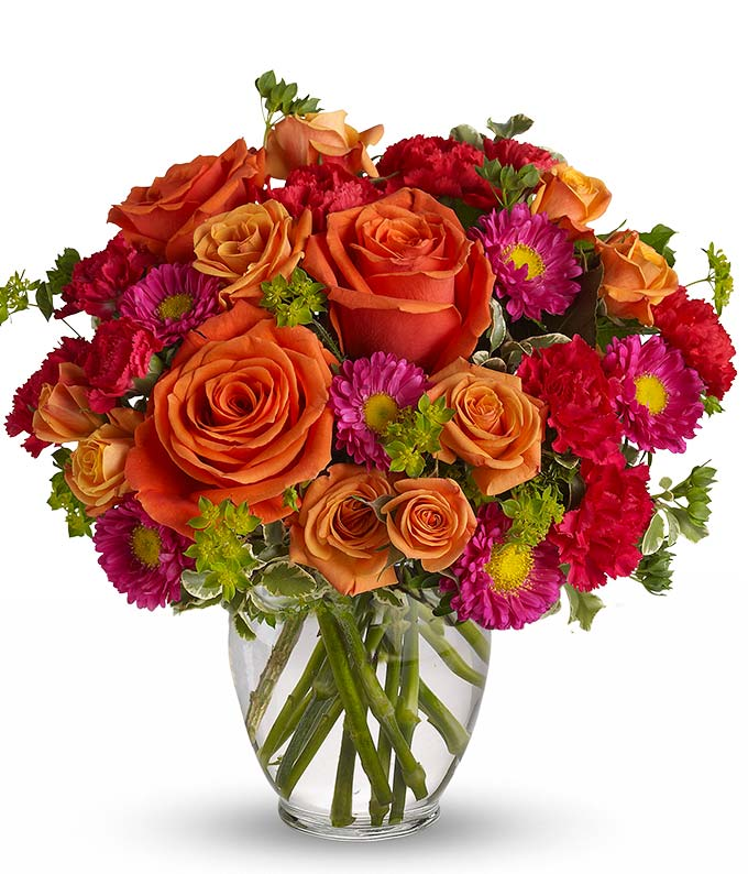How Sweet It Is: Roses, Asters, Birthday Flowers-FromYouFlowers.com