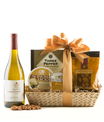 Chardonnay wine basket with nuts and cheese